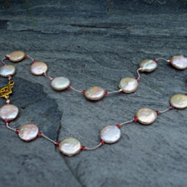 """Peach Coin Pearl and Swarovski Crystal on Silk with Vermeil Clasp 16"""" - $95"""