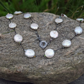 """White Coin Pearl, Swarovski Crystal on Silk with Oxidized Silver Clasp 16"""" - $95"""