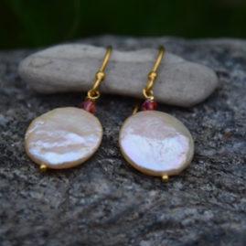 Peach Coin Pearl, Swarovski Crystal, Vermeil - $25